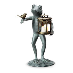 Whimsical Frog and Bird Aluminum Garden Lantern