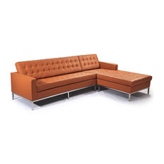 Kardiel - Midcentury Florence Genuine Standard Leather Sectional Luxe Camel Right - Sectional Sofas  sc 1 st  Houzz : sleeper with chaise - Sectionals, Sofas & Couches