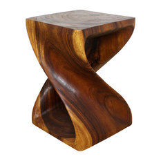 "Haussmann Original Wood Twist End Table 15""x15""x20"", Livos Walnut Oil"