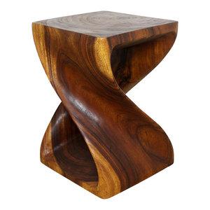 "Haussmann Original Wood Twist End Table 15""x15""x20"", Livos Walnut Oil"