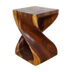 Haussmann Original Wood Twist End Table 15 X 15 X 20 In High Livos Walnut Oil