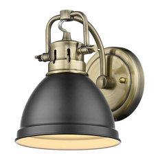 1-Light Aged Brass Bath-Light With Matte Black Shade
