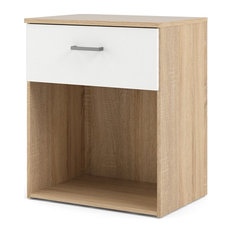 Bowery Hill 1 Drawer Nightstand in Oak and White by Bowery Hill