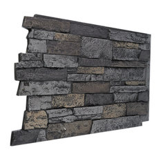 Wide Stacked Stone Wall Panel, Midnight