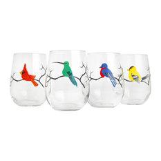 7db6af4c8ad7 Mary Elizabeth Arts - Four Birds Stemless Wineglasses - Wine Glasses