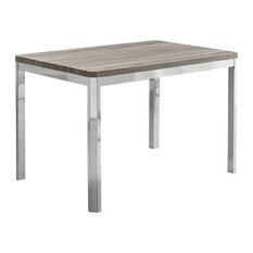 Monarch Dining Table, Dark Taupe and Chrome