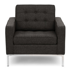"""Kardiel Florence Mid-Century Modern 35"""" Armchair, Charcoal Cashmere Wool"""