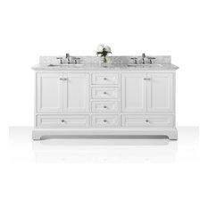 "Audrey Vanity Set, White, 60"", Brushed Nickle Hardware, Carrara White Marble"