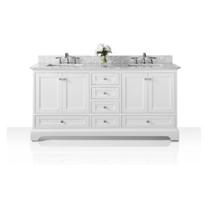 "Audrey Vanity Set, White, 60"", Brushed Nickle Hardware, Carrara White Marble"
