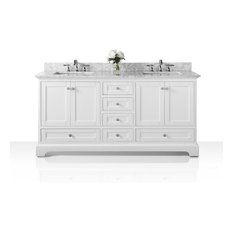 Audrey White Vanity Set With Silver Hardware, Top: Carrara Marble, 60""
