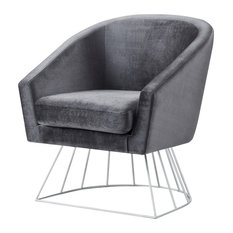 Alice Velvet Barrel Accent Chair With Metal Base, Gray and Silver