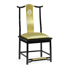 Asian Fusion Black Gloss And Brass Dining Side Chair, Upholstered, Gold Silk