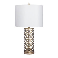 Fangio Lighting   Moroccan Weave Metal Table Lamp, Muted Gold   Table Lamps