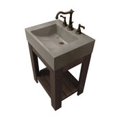 "24""Lavare Cado Concrete Sink, Graphite, No Hole"