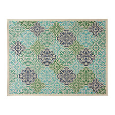 """Ellie Outdoor Medallion Area Rug, Ivory and Multi, 7'10""""x10'"""
