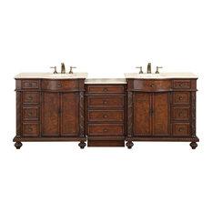 90.25 in. Victoria Double Sink Bathroom Vanity, English Chestnut
