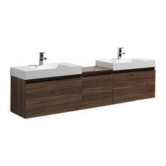 "Aquamoon Venice 83"" Infinity Double Sink Modern Bathroom Vanity Set, Walnut"