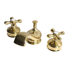 'Empire' Deck Mounted Lavatory Sink Faucet, Un-Lacquered Polished Brass Finish
