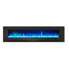"""78"""" Wall-Mount Electric Fireplace, Black"""