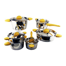 Stacca 11-Piece Cookware Set, Yellow Rubber Handles