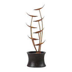 "43.1"" Rain Forest Bronze Metal Leaves Cascading Polyresin Fountain"
