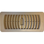 Deflect-o - Deflecto Contemporary Plastic Floor Register, Taupe, 4x10 - These versatile, rust-proof plastic floor registers are available in a white or taupe finish.  Will hold up in high moisture areas such as bathrooms, kitchens and exterior areas.  The easily adjustable louver on top allows you to open and close off air flow.  All you need to do to install is drop into the hole opening in your floor - no screws needed!