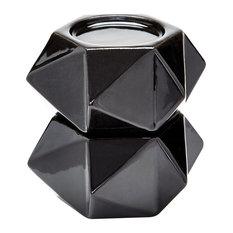 Lazy Susan Large Ceramic Star Candle Holders, Black, Set Of 2