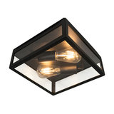 Modern Square Outdoor Ceiling Lamp 2 Black - Rotterdam