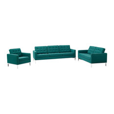 Teal Loft 3 Piece Upholstered Fabric Sofa Loveseat And Armchair Set