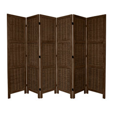 5 1/2' Tall Bamboo Matchstick Woven Room Divider, Burnt Brown, 6 Panel