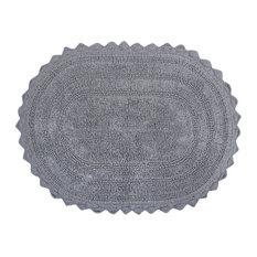 DII Gray Small Oval Crochet Bath Mat