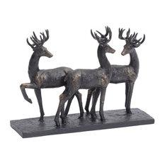 Stag Trio Sculpture, Antique Bronze