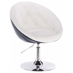 Modern Bar Stool Upholstered, Faux Leather With Tufted Buttons, White and Black