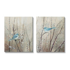 Peaceful Perched Blue Birds Animal Nature Painting,2pc, each 24 x 30