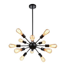 Vintage sputnik chandeliers houzz lightingworld vintage metal dimmable sputnik chandelier with 12 light black painted chandeliers mozeypictures Gallery