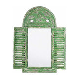 Rustic Stylish Mirror with Painted Wooden Frame, Louvre Distressed Design