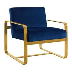 Astute Upholstered Velvet Armchair, Navy