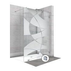"Fixed Shower Screens With Geometric Design, Semi-Private, 47 1/2""x75"" Inches"
