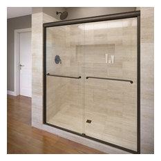 """Celesta Semi-Frameless Sliding Shower Door, 44-48"""", Clear, Oil Rubbed Bronze"""