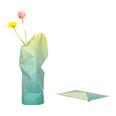 Green Fade Paper Vase Cover