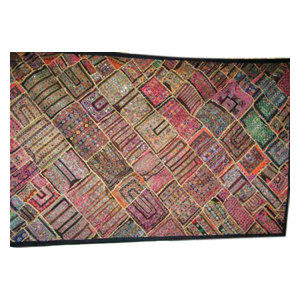 Mogul Interior - Sari Tapestry Handmade Vintage Patchwork Wall Hanging Throw - Tapestries