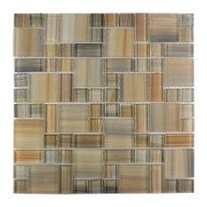 """Brown Handicraft Desert Magic Glass Mosaic Tile, 11.88""""x11.88"""" Sheets, Set of 10"""