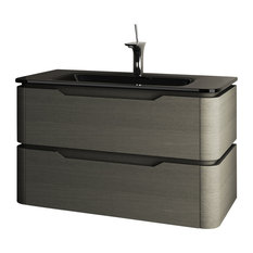 Strato 2-Drawer Washbasin Unit With Glass Countertop, Cinder Gray