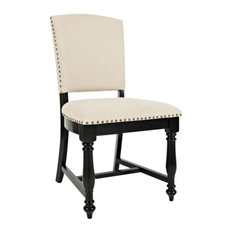 Castle Hill Upholstered Dining Chairs, Set of 2, Antique Black
