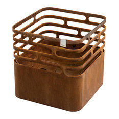 Cube Fire Basket, Rust
