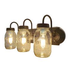 Mason Jar Vanity Light Trio of New Quarts, Oil Rubbed Bronze