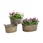 Metal Planter Tubs, Set of 3 Planters With Wooden Handles