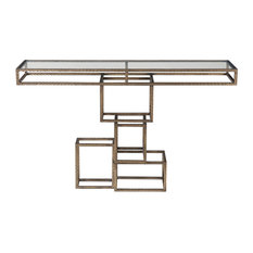 Minimalist Open Geometric Stacked Shapes Console Table Bronze Gold Metal Cubes