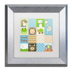 "Jennifer Nilsson 'Baby Boy Animal Quilt' Art, Silver Frame, 11""x11"", White Matte"