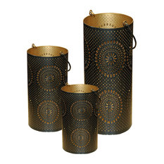 """Black and Gold Decorative Floral Cut-Out Pillar Candle Lanterns, Set of 3 12.5"""""""